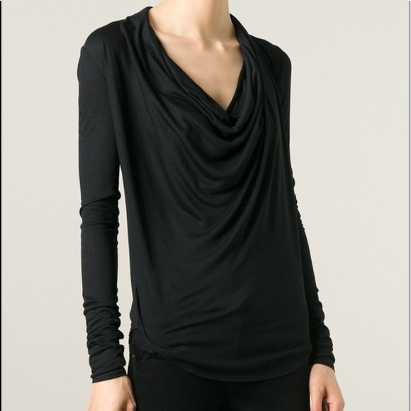 076bed4810e12d HELMUT LANG draped cowl neck top Style ID C06HW510